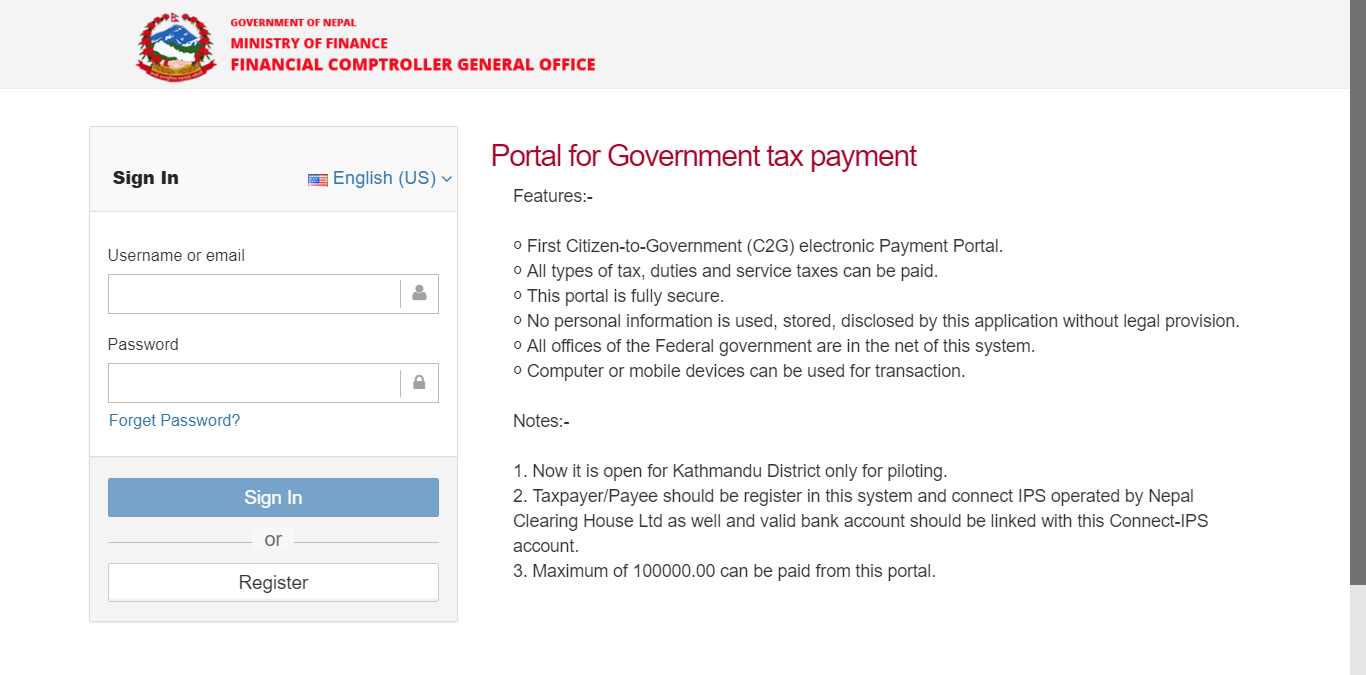 Portal for Government tax payment in Nepal