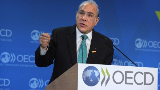 OECD Secretary General Angel Gurria talks while presenting the Economic Outlook during the OECD Week at the OECD headquarters in Paris on May 29, 2013. AFP PHOTO ERIC PIERMONTERIC PIERMONT/AFP/Getty Images