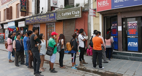 Queue in ATM to withdraw money in Nepal