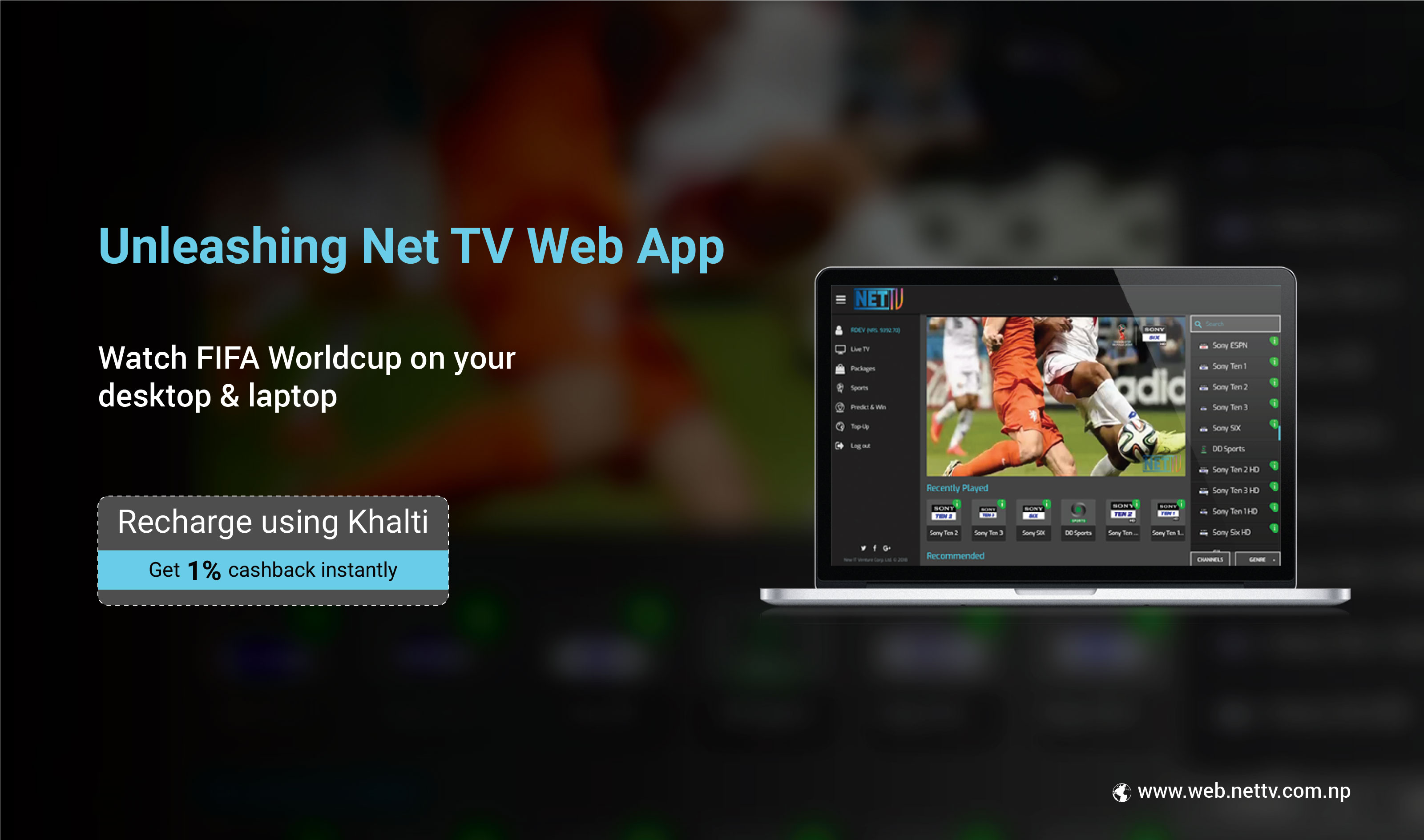 How to recharge Net TV App online using Khalti?