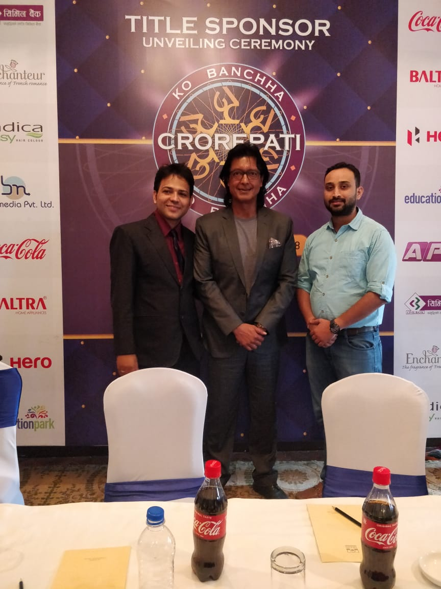 Bipin Acharya, CEO, SRBN Media Pvt. Ltd., Rajesh Hamal, host of Ko Banchha Crorepati show, and Amit Agrawal, Director, Khalti Digital Wallet; at the Press Conference held in Kathmandu on October 4