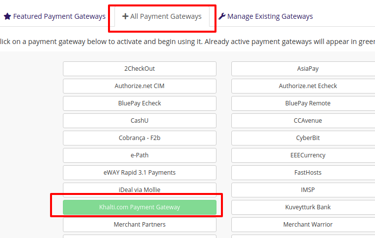 enable khalti WHMCS online payment gateway plugin