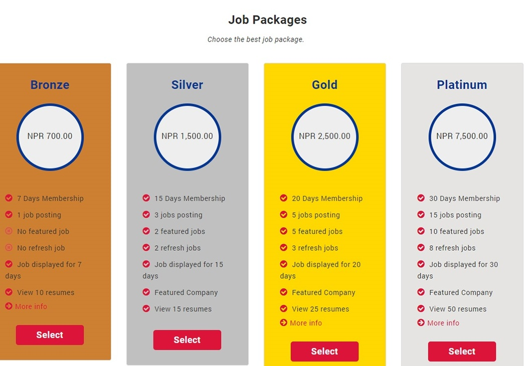 Packages available at ApplyJob