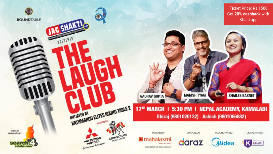 Buy tickets for The Laugh Club comedy show via Khalti app