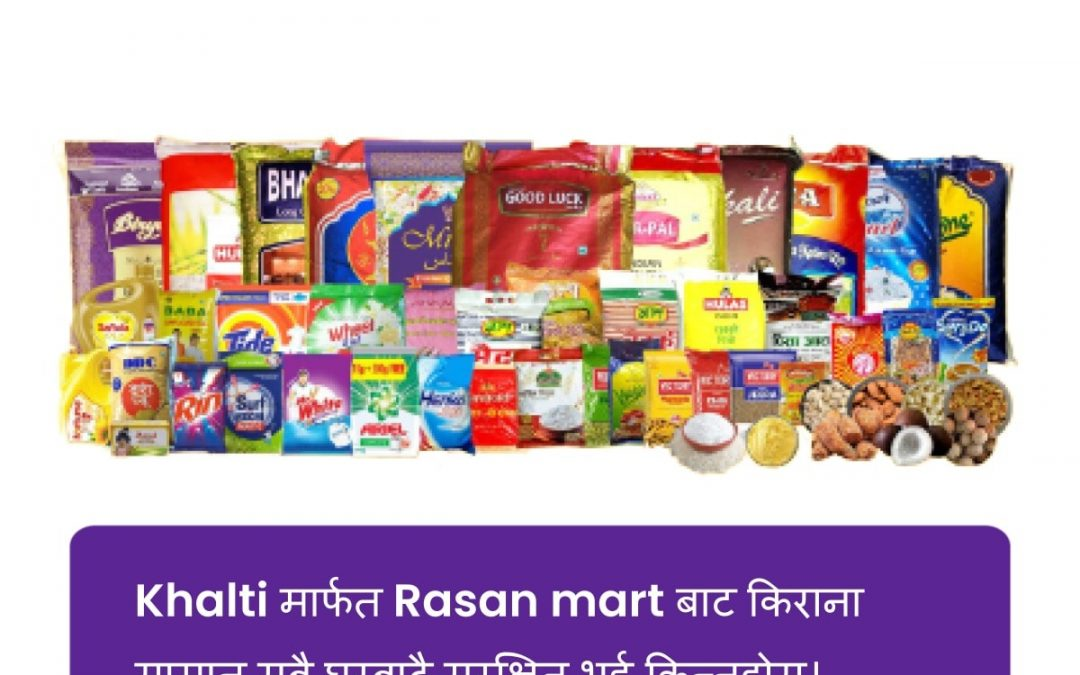 Buy grocery online from Rasan Mart and receive it at your doorstep; pay via Khalti and get 100 rupees cashback instantly