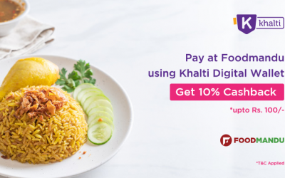 Order food online from Foodmandu and pay via Khalti wallet; get 10% cashback instantly
