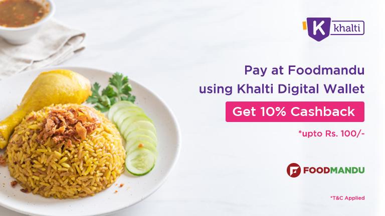 Order food online from Foodmandu and pay via Khalti wallet; get 10% cashback instantly