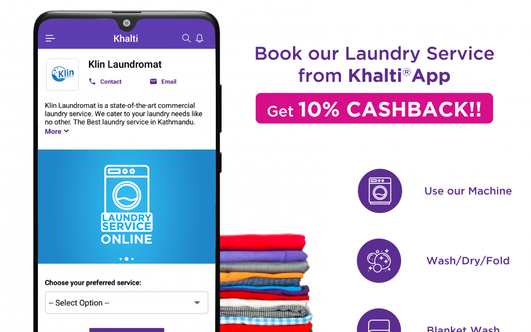 Book Laundry Service from Khalti App and Get 10% Cashback