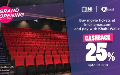 Grand opening 25% cashback offer at INI Cinemas on payment via Khalti