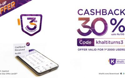 Celebrating our 3rd Year Anniversary with a Bang – Get 30% Cashback up to Rs. 100