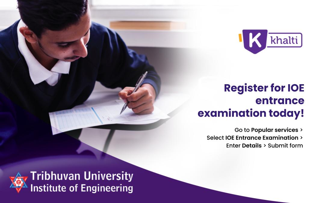 How to pay the IOE Entrance Examination fee online with Khalti?