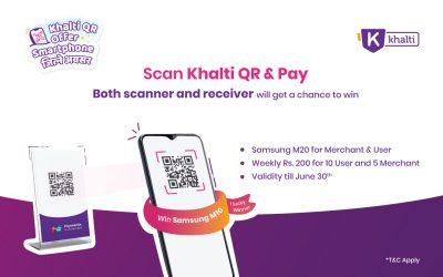 Scan Khalti QR & Pay; Bumper Prize Samsung M10; Weekly Prize Rs. 200