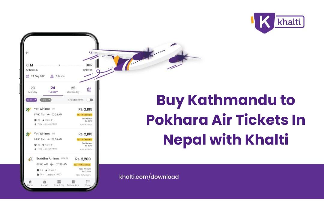 Buy Kathmandu to Pokhara Air Tickets In Nepal with Khalti